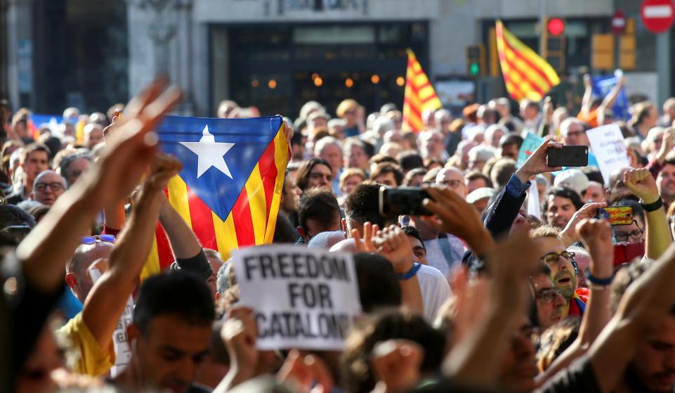 Barcelona footballers join strike in protest over Catalonia referendum response
