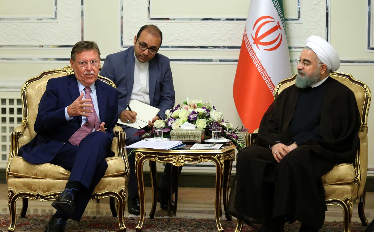 President Hassan Rouhani meets the President of Belgium's Chamber of Representatives Siegfried Bracke in Tehran on Sept. 16
