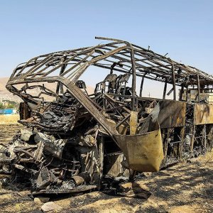 Scores Killed in Fiery Tanker-Bus Collision
