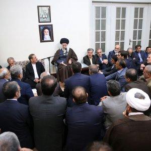 Leader of Islamic Revolution Ayatollah Seyyed Ali Khamenei addresses top officials in Tehran on Monday.