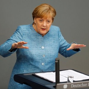 German Chancellor Angela Merkel speaks at the lower house of parliament Bundestag in Berlin on Wednesday.