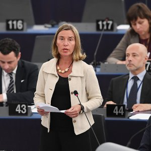 EU diplomatic chief Federica Mogherini speaks at the European Parliament on June 12, in Strasbourg, eastern France.