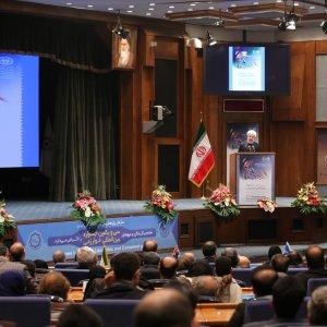 Iranian President Hassan Rouhani speaks at the 31st Khwarizmi International Award in Tehran on Feb. 24.
