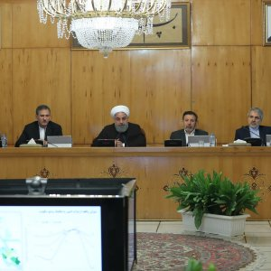 President Hassan Rouhani (C) speaks during a Cabinet meeting on March 7.