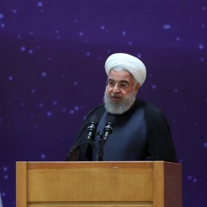 President Hassan Rouhani delivers a speech during a ceremony marking  National Nuclear Technology Day on Monday.