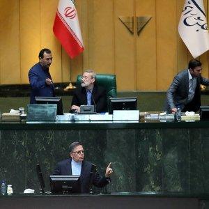 CBI Governor Valiollah Seif (Foreground) addresses the Iranian Parliament on April 10.