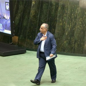 Masoud Karbasian attends the parliament's open session on April 24.