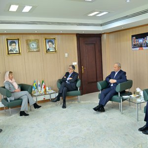 TCCIM chief, Masoud Khansari (C), meets Sweden's Ambassador to Iran Helena Sangeland in Tehran on April 18.