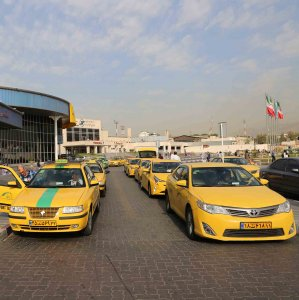 Yellow cabs at Tehran's Mehrabad International Airport