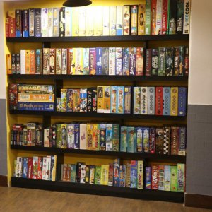 A view of board games in Café Geek