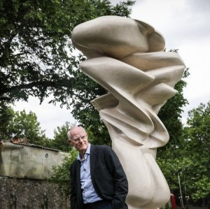 Tony Cragg stands beside his donated sculpture in the premises of Tehran Museum of Contemporary Art.