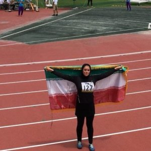 Reyhaneh Arani made history by winning the first medal of the game in the history of women hammer throwers of Iran.