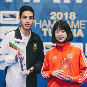 """""""Most Valuable Player"""" awards at the championships were awarded to Iran's Hossein Lotfi (L) and South Korea's Mireu Kang."""