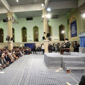 The Leader ofIslamic Revolution Ayatollah Seyyed Ali Khamenei addresses a group of university students in Tehran on Monday.