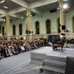 Leader of Islamic Revolution Ayatollah Seyyed Ali Khamenei addresses a group of university teachers in Tehran on Sunday.