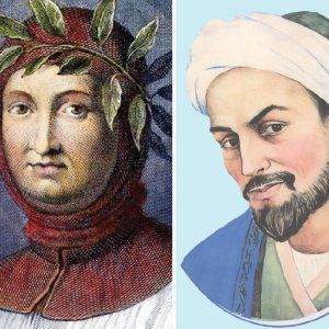Portaits of Petrarch (L) and Sa'di