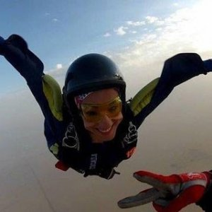 Skydiver Shows Strong Side of Women