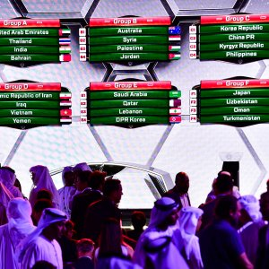 The final draw for the 2019 edition of the AFC Asian cup tournament, during the official draw event in Dubai on Friday.