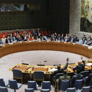 UN Security Council members vote on a US-drafted resolution toughening sanctions on North Korea, at the United Nations Headquarters in New York on August 5.