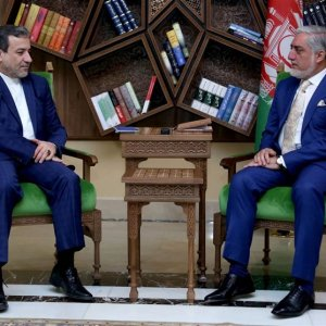 Afghan Chief Executive Abdullah Abdullah (R) and Deputy Foreign Minister Abbas Araqchi in Kabul on Tuesday.