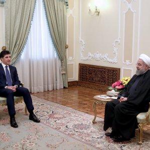 Iranian President Hassan Rouhani (R) meets with Prime Minister of Iraq's Kurdistan Regional Government Nechirvan Barzani in Tehran on Jan. 21.
