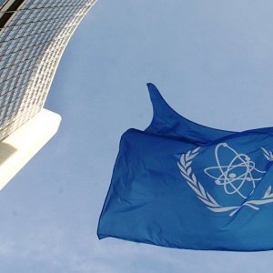 The IAEA's flag flies in front of its headquarters in Vienna.
