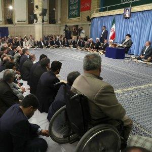 Ayatollah Seyyed Ali Khamenei speaks during a Qur'an recitation ceremony in Tehran on May 28.
