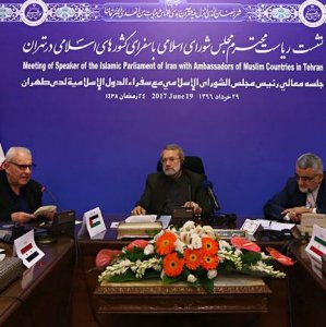 Majlis Speaker Ali Larijani meets ambassadors of Muslim countries in Tehran on June 19.