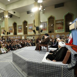 Ayatollah Seyyed Ali Khamenei addresses Iranian officials and ambassadors of Muslim nations on the occasion of Eid al-Mab'ath in Tehran on April 25.