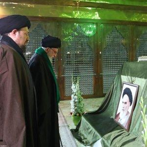 Ayatollah Seyyed Ali Khamenei visits the mausoleum of Ayatollah Ruhollah Khomeini, the late founder of the Islamic Republic, on Jan. 31.