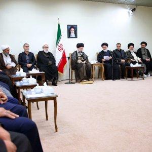 Ayatollah Seyyed Ali Khamenei meets hajj officials in Tehran on Oct. 3.