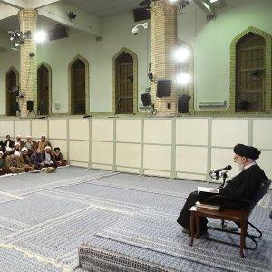 Ayatollah Seyyed Ali Khamenei addresses theological students in Tehran on Feb. 20.