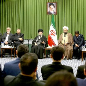 Ayatollah Seyyed Ali Khamenei received poets writing on religious issues in Tehran on Feb. 24.