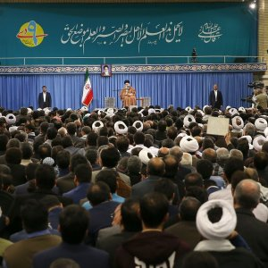 Ayatollah Seyyed Ali Khamenei addresses members of the Coordination Council of Islamic Publicity in Tehran on Dec. 27.
