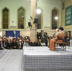 Ayatollah Seyyed Ali Khamenei addresses people in a meeting in Tehran on Jan. 9.