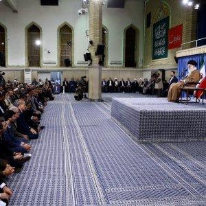 Ayatollah Seyyed Ali Khamenei receives teachers in Tehran on May 7.