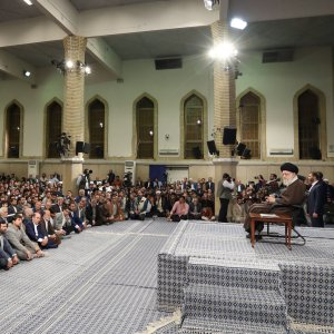 Leader of Islamic Revolution Ayatollah Seyyed Ali Khamenei addresses a gathering in Tehran on March 8.