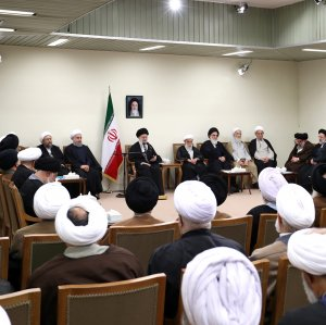 Ayatollah Seyyed Ali Khamenei addresses members of the Assembly of Experts in Tehran on March 9.