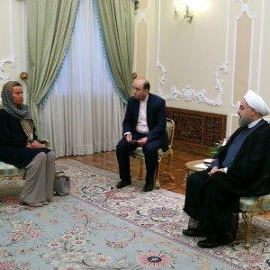 President Hassan Rouhani (R) meets top EU diplomat, Federica Mogherini, in Tehran on August 5.