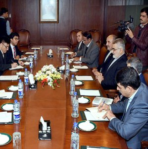 Iranian and Pakistani delegations meet in Islamabad on Jan. 26.