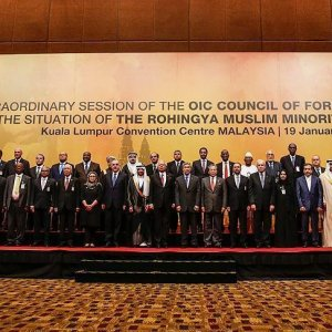 Dignitaries from OIC member states pose for a family photo in Kuala Lumpur, Malaysia, on Jan. 19.