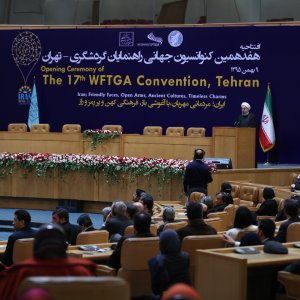 President Hassan Rouhani addresses a tourism conference in Tehran on Jan. 28.