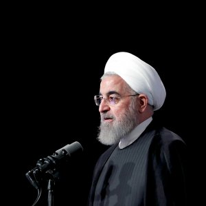 President Hassan Rouhani addresses the WAIC summit in Qazvin on April 23.