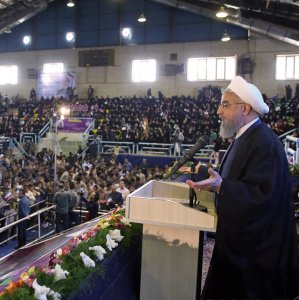 President Hassan Rouhani addresses supporters in Kerman on April 29.