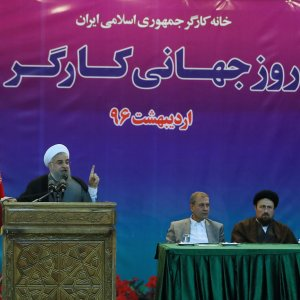 President Hassan Rouhani addresses a gathering of workers in Tehran on May 1.
