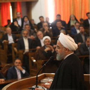President Hassan Rouhani meets lawmakers in Tehran on May 10.