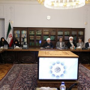 President Hassan Rouhani addresses a meeting of the Supreme Council of Cultural Revolution in Tehran on April 4.