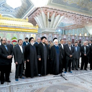 President Hassan Rouhani and his Cabinet renewed allegiance with the late Imam Khomeini at his mausoleum in Tehran on Aug. 27.