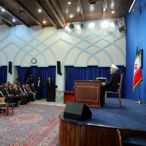 President Hassan Rouhani speaks at a press conference in Tehran on Feb. 6.