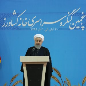 President Hassan Rouhani addresses a meeting at Farmers' House in Tehran on Nov. 21.